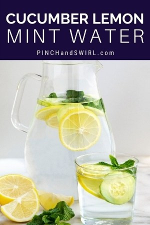 Cucumber Lemon Mint Water in a glass pitcher and a glass tumbler