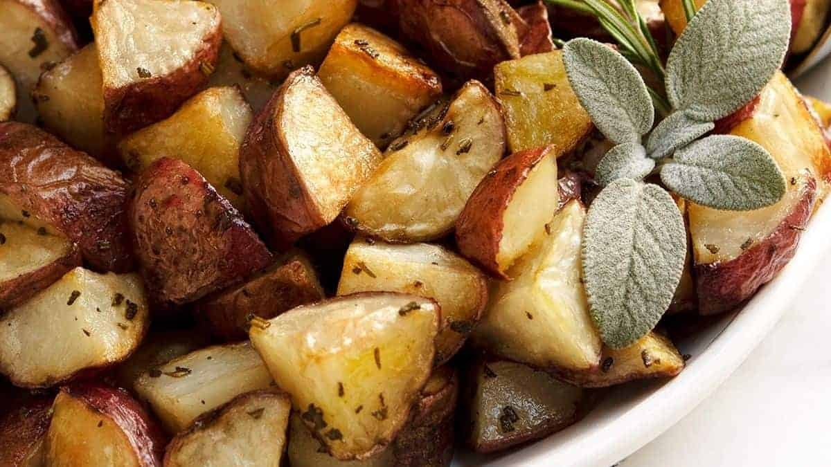 Italian Roasted Potatoes served on a white platter