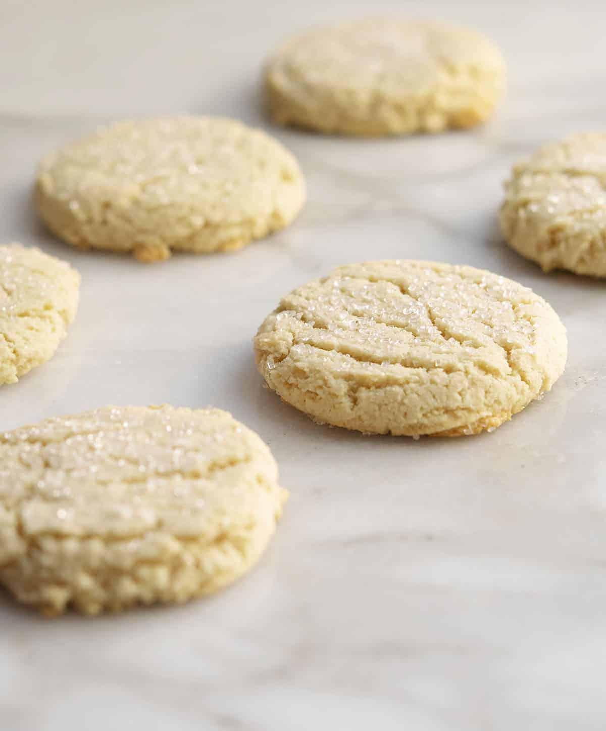 Scoop and Flattened Almond Flour Sugar Cookies