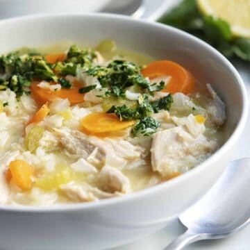 Turkey and Rice Soup served in a white bowl