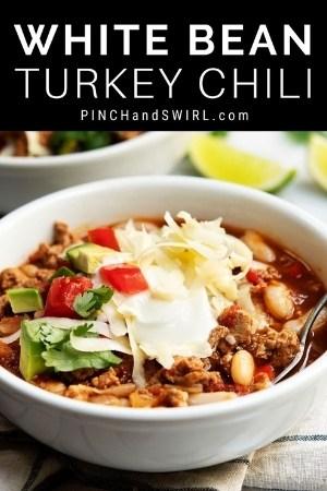 white bean turkey chili served in a white bowl