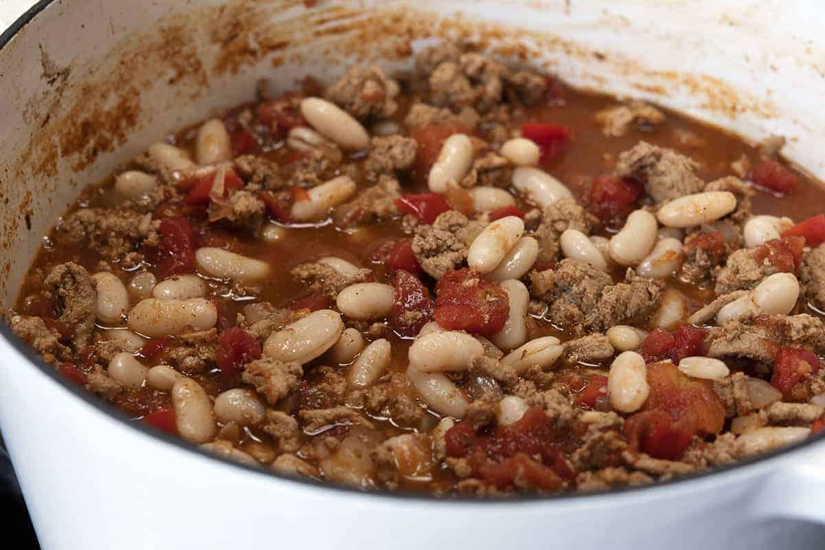 White Bean Turkey Chili ready to serve