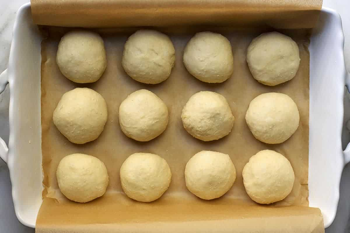 brioche rolls before the second rise