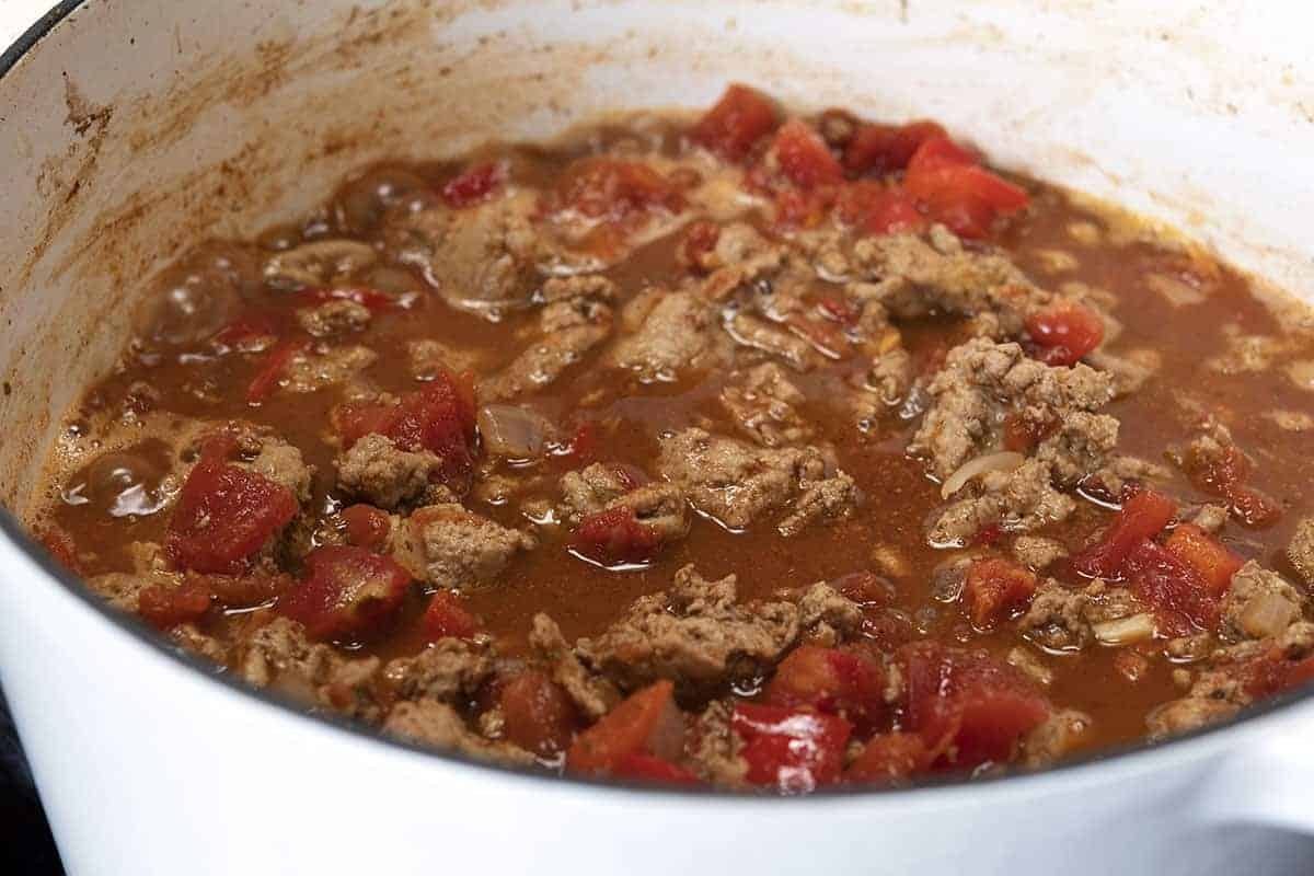 broth added to ground turkey and spice mixture