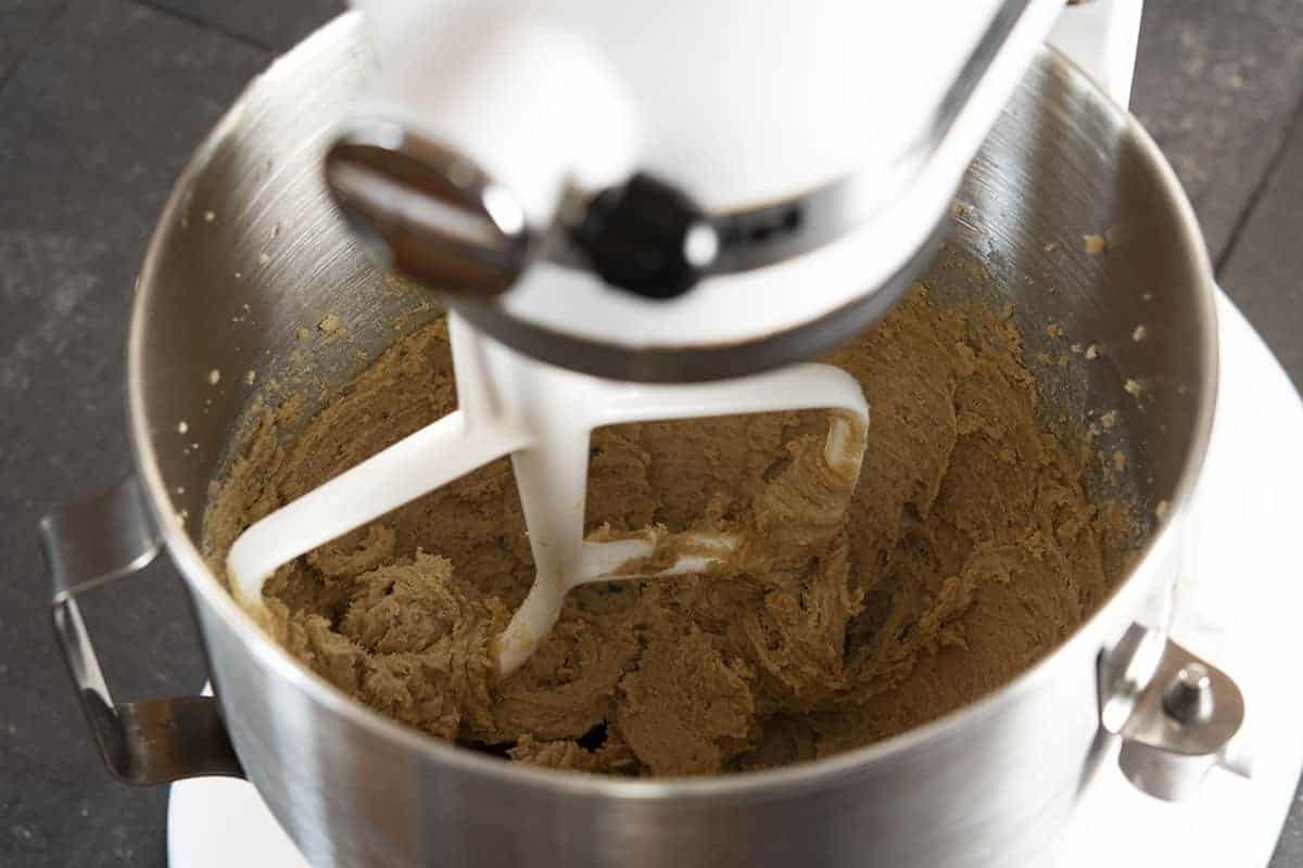 butter sugars and vanilla mixed in stand mixer bowl