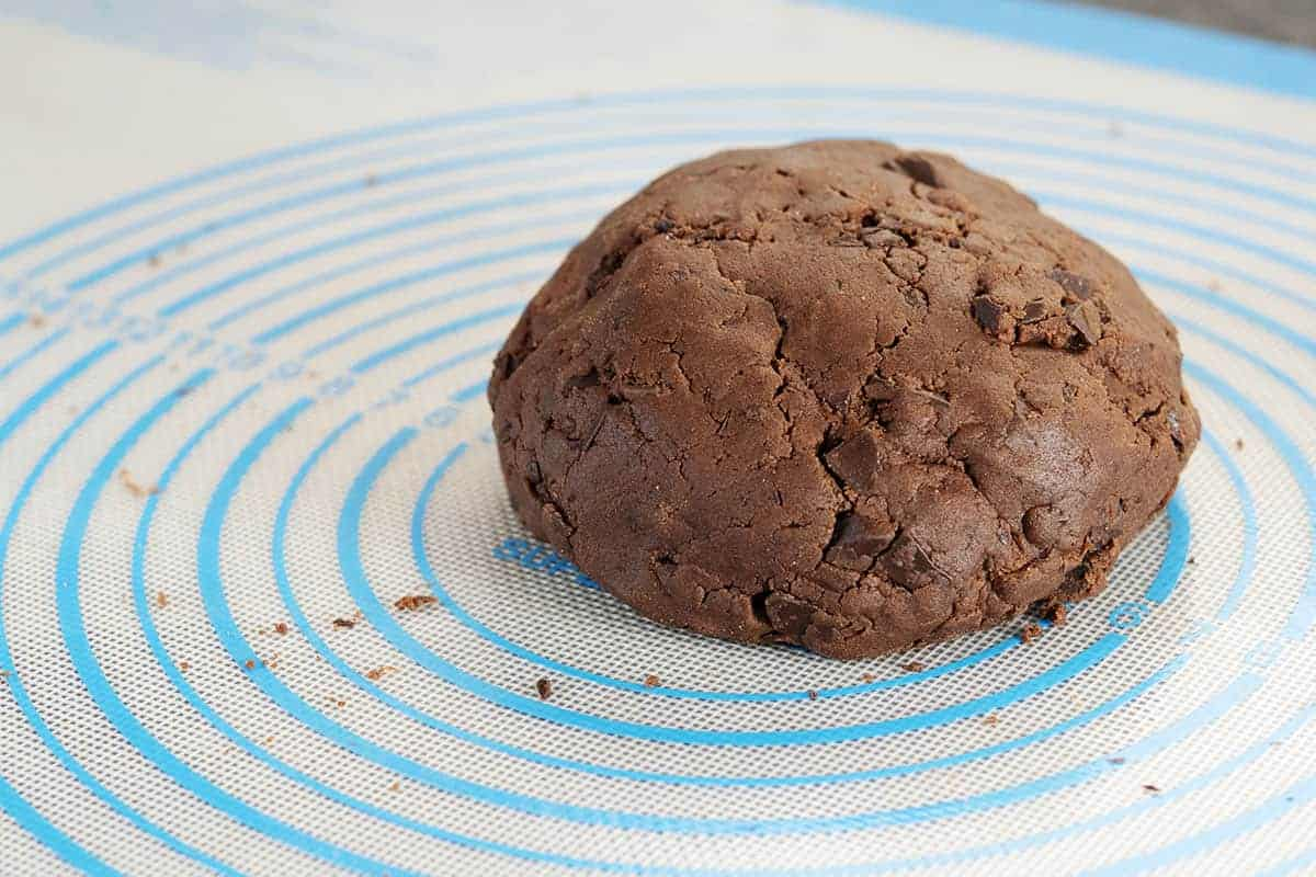 cookie dough crumbles pressed into a ball