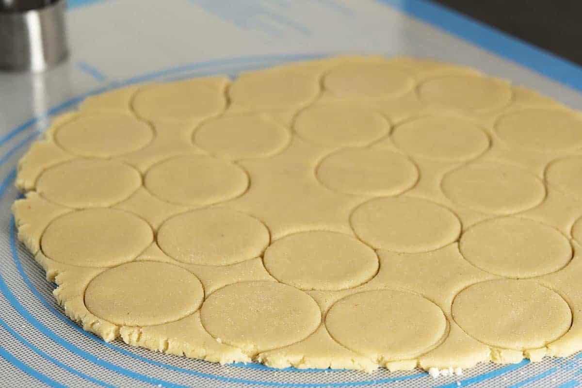 cut almond flour sugar cookie dough