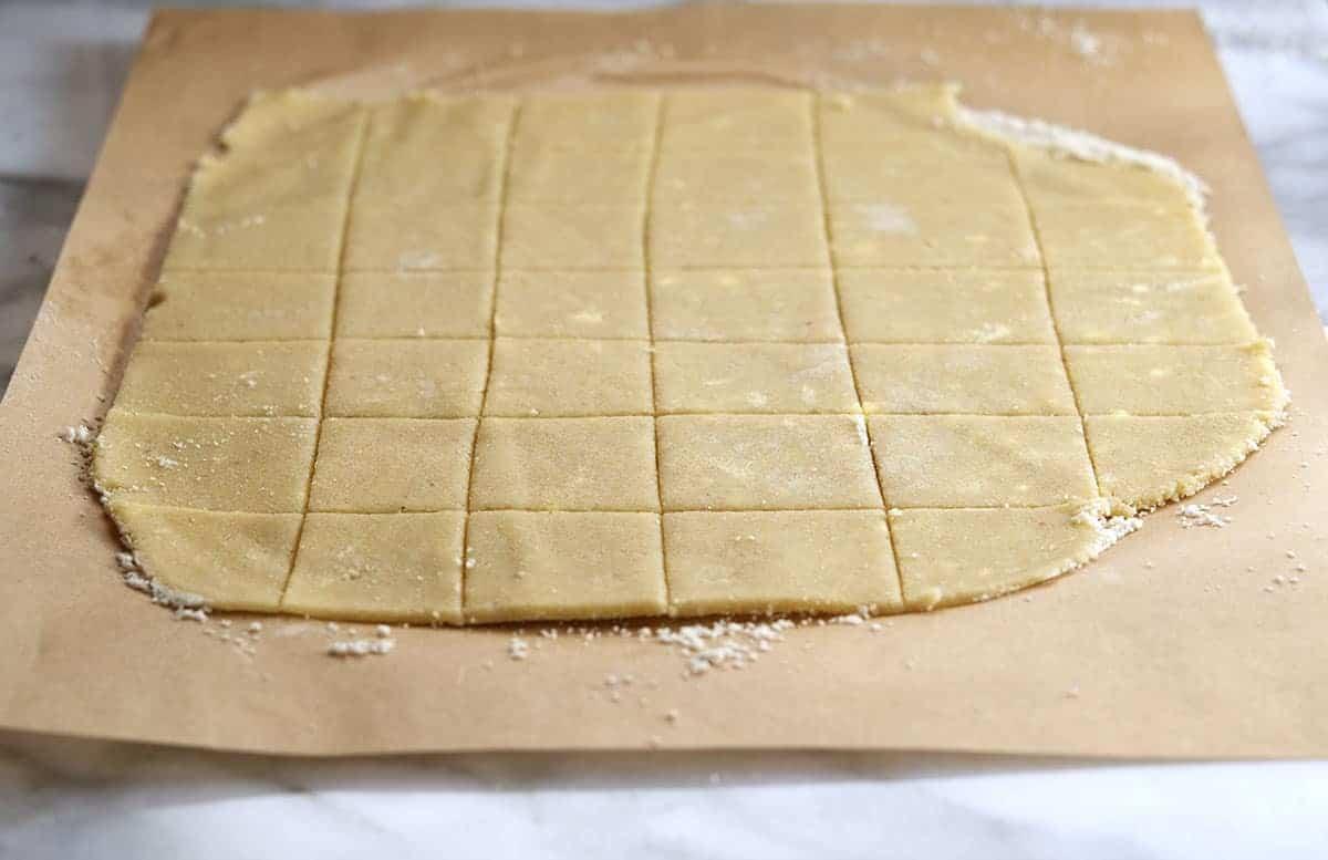 cut almond flour cracker dough