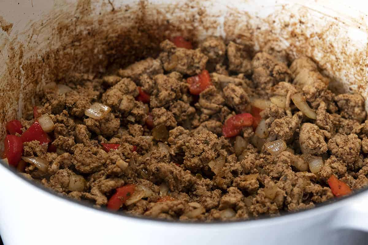ground turkey cooked with onion sweet red pepper and spices