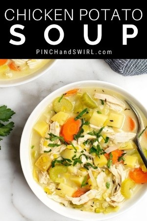 chicken potato soup served in white bowls