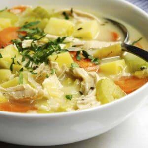 Chicken Potato Soup served in a white bowl