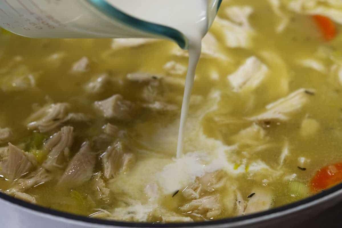 adding half and half to soup