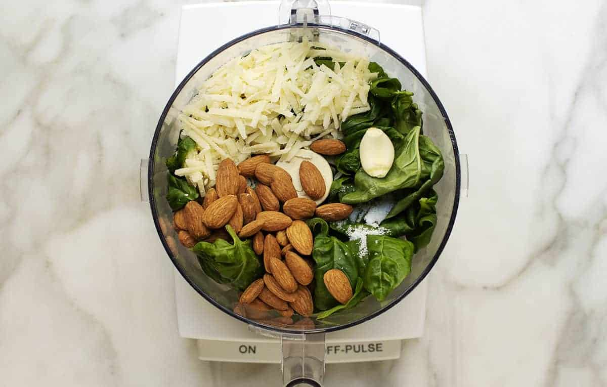 almond pesto ingredients except olive oil in food processor