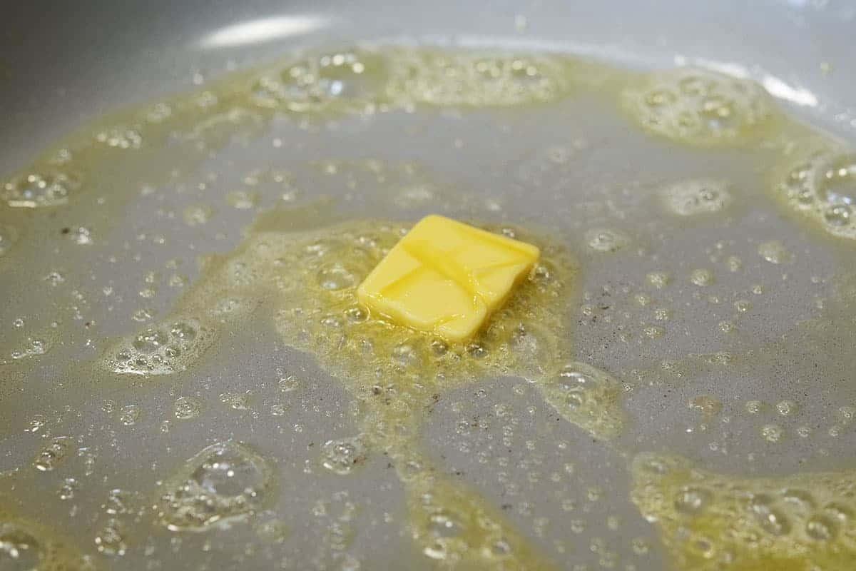 melting butter in skillet
