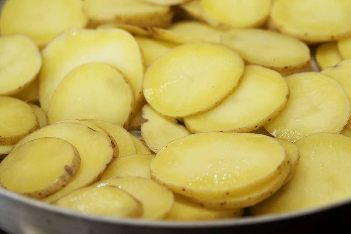 pan frying potato slices in butter