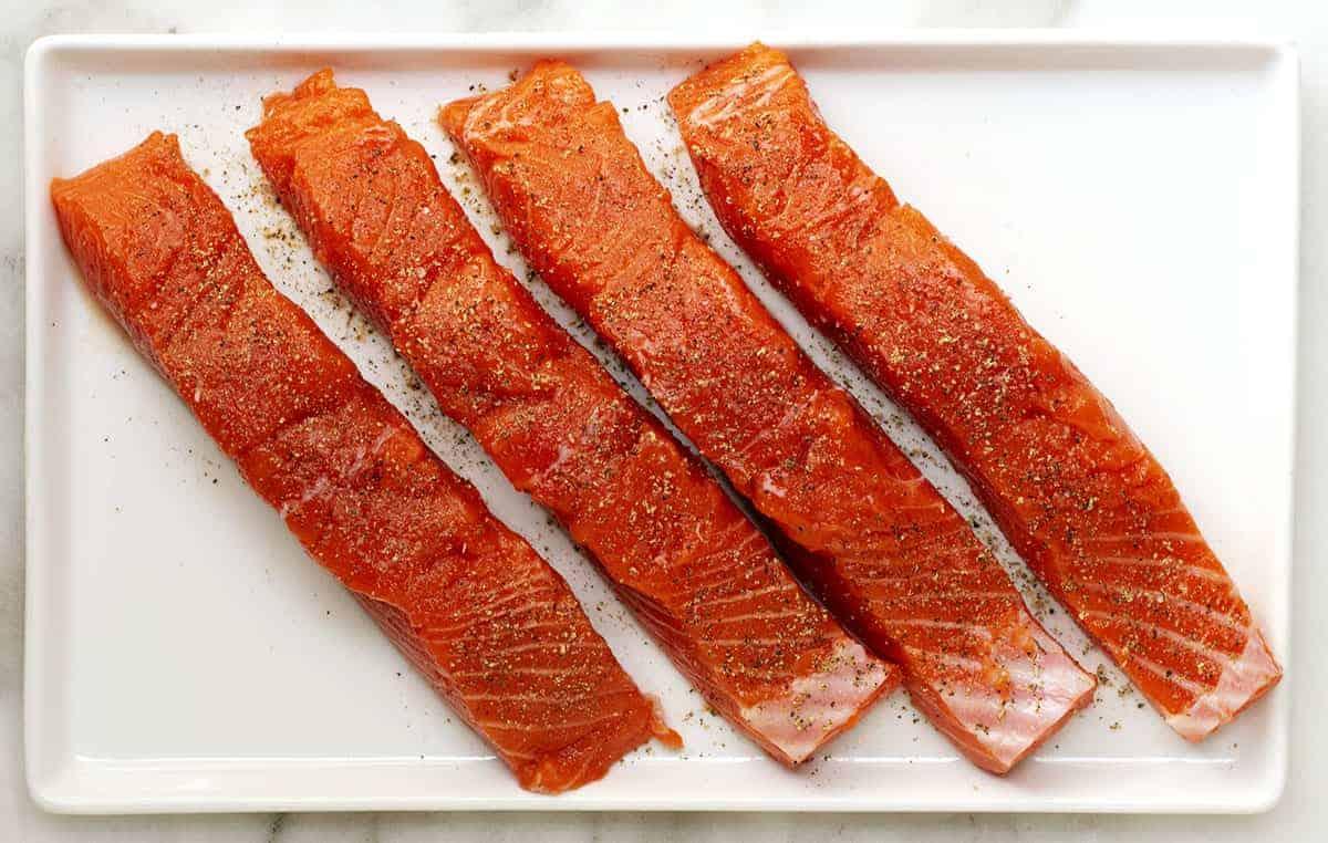 seasoned salmon fillets