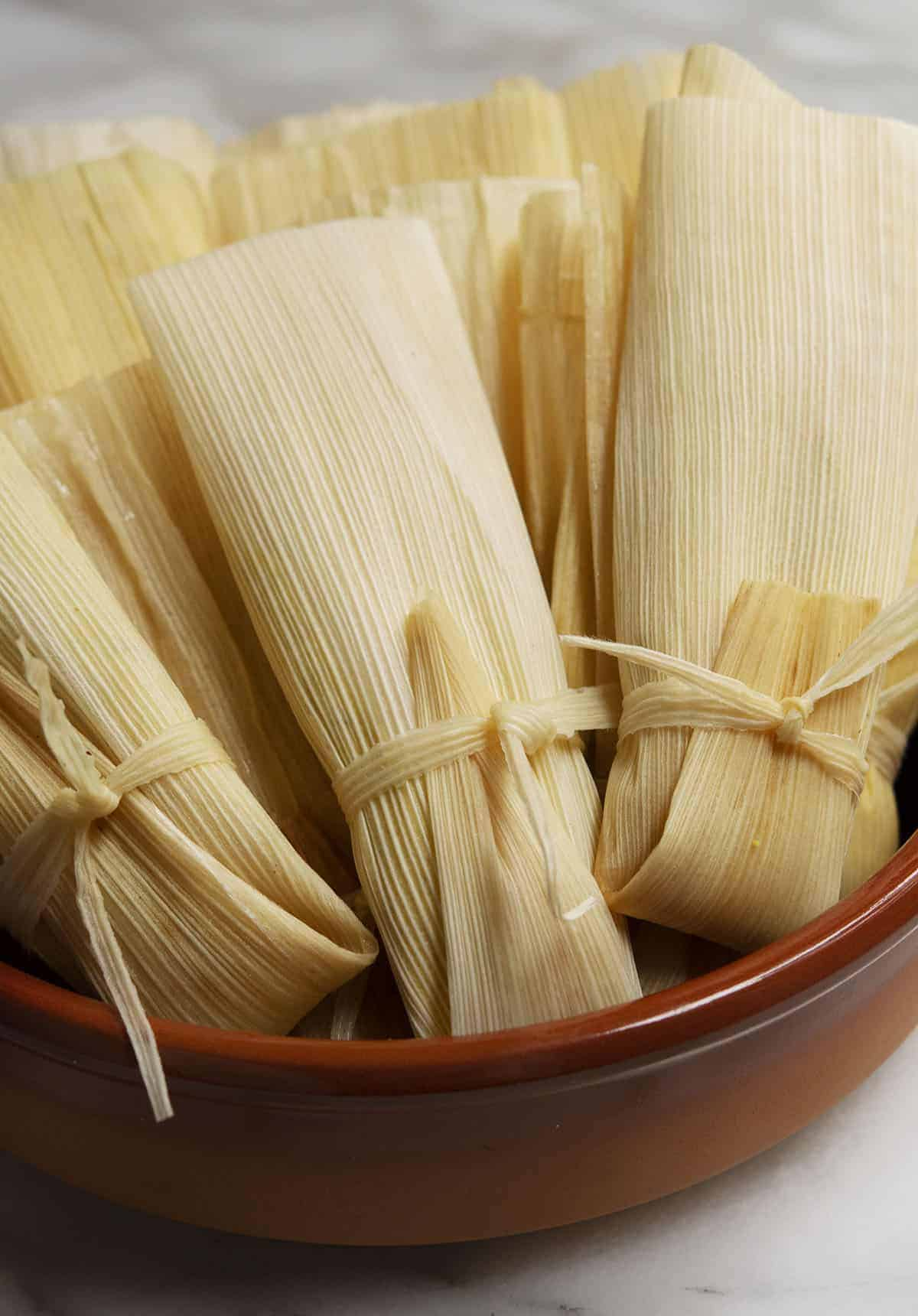 vegetarian tamales ready to steamed and ready to serve