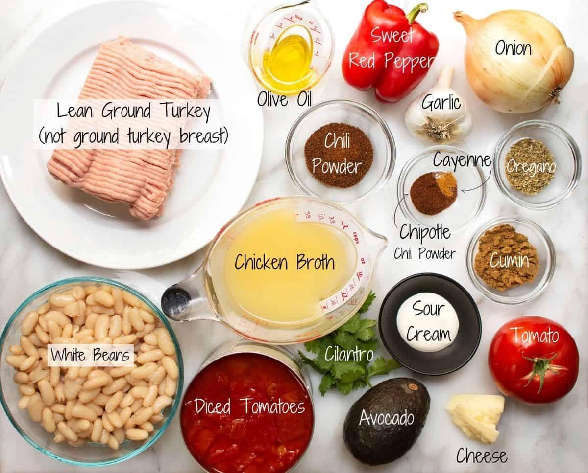 White Bean Turkey Chili Ingredients on a white marble board