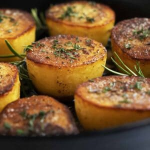 Fondant Potatoes in a cast iron skillet