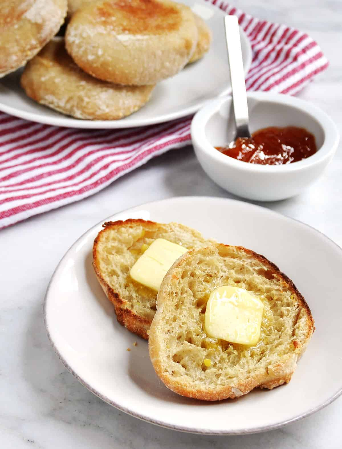 homemade English Muffins served with butter and jam
