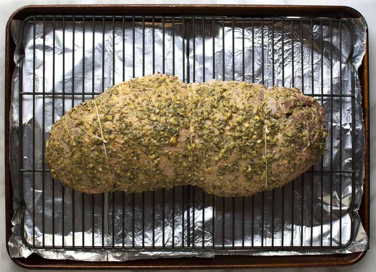 boneless leg of lamb top rubbed with herb paste