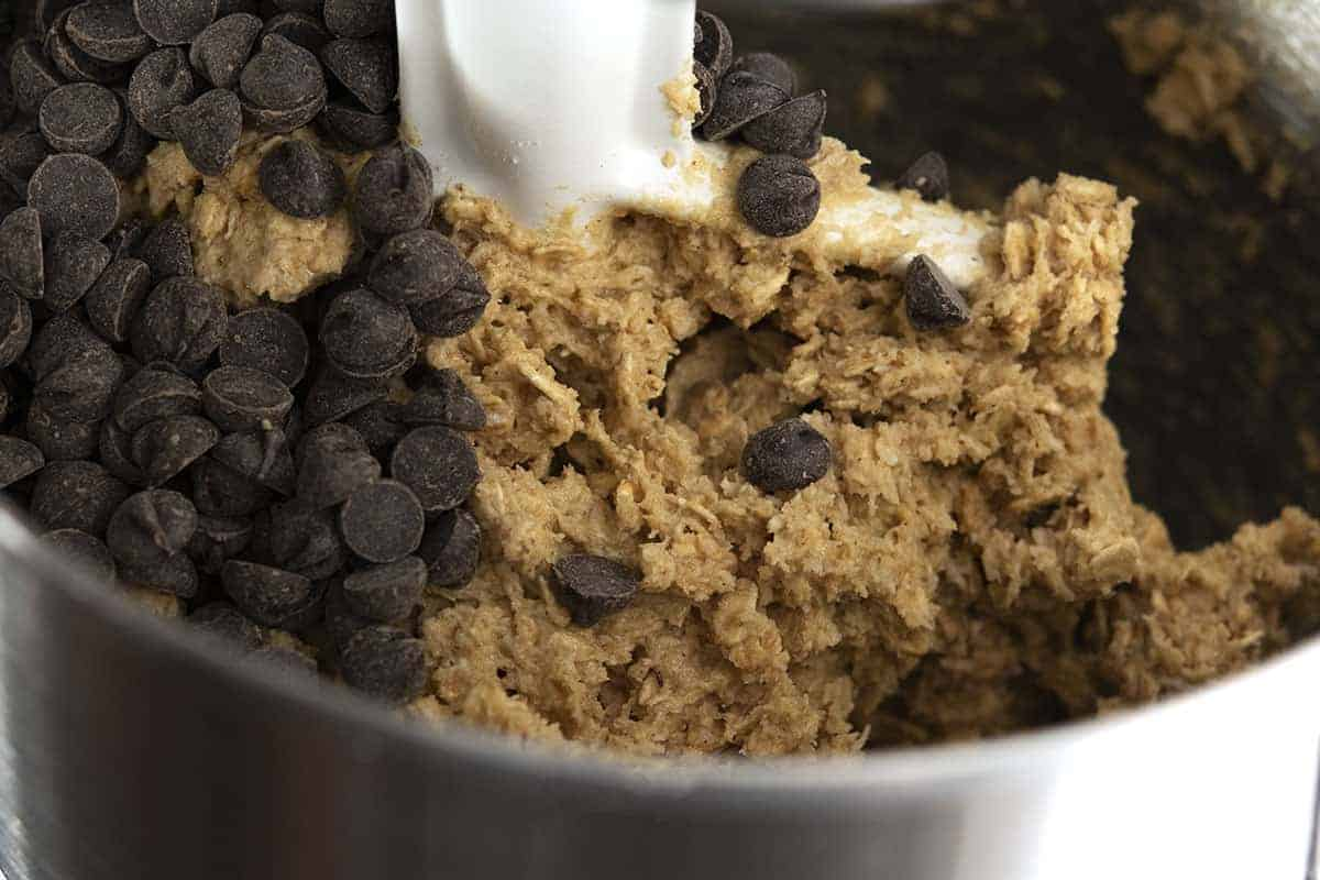 chocolate chips on top of dough