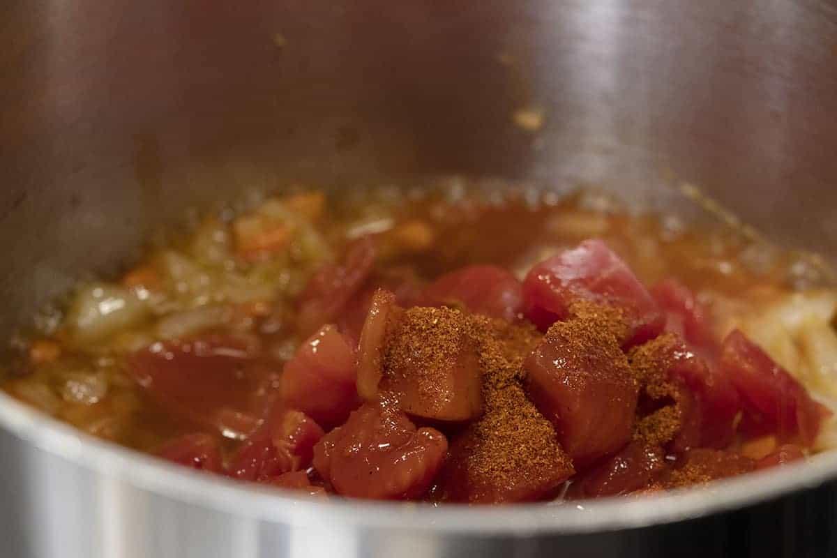 sauce ingredients in a saucepan