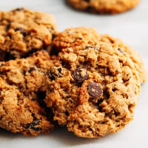 Almond Flour Oatmeal Cookies stacked on a white marble board