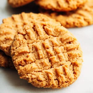 Almond Flour Peanut Butter Cookies on a white marble board