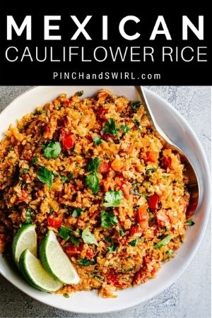 Mexican Cauliflower Rice served in a white bowl