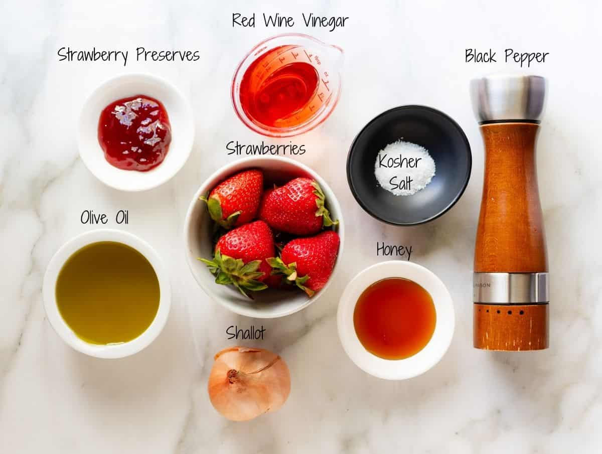 Strawberry Vinaigrette Ingredients on a white marble board