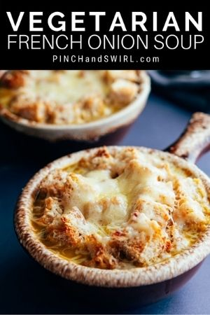 vegetarian French onion soup served in traditional brown bowls with a long handle