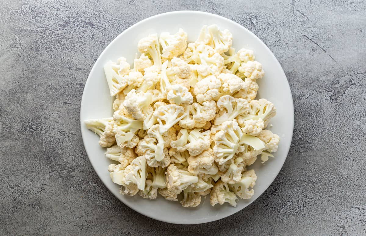 cauliflower florets on a plate