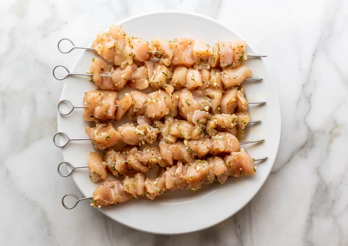 chicken chunks on skewers