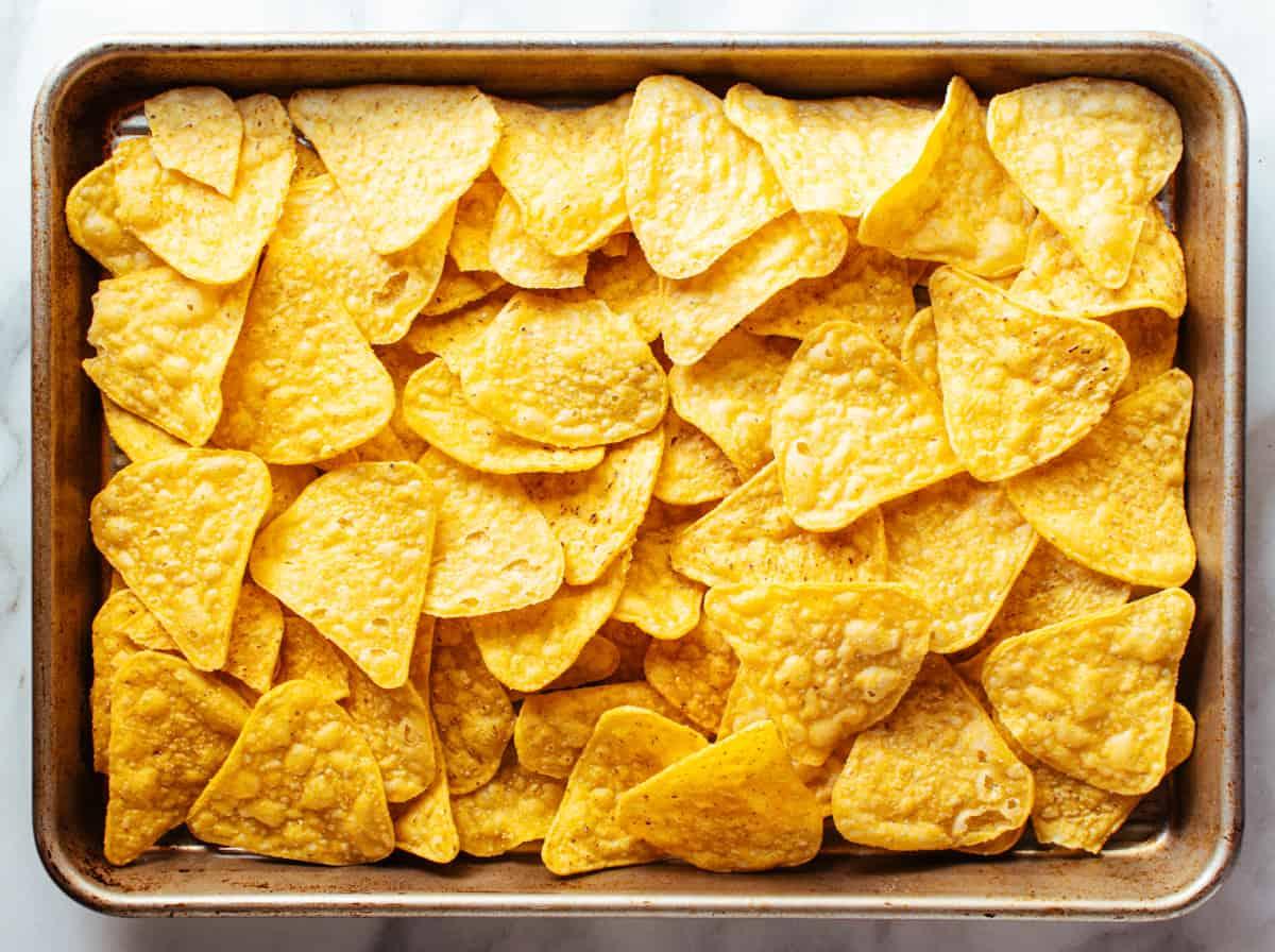 corn tortilla chips ready to bake