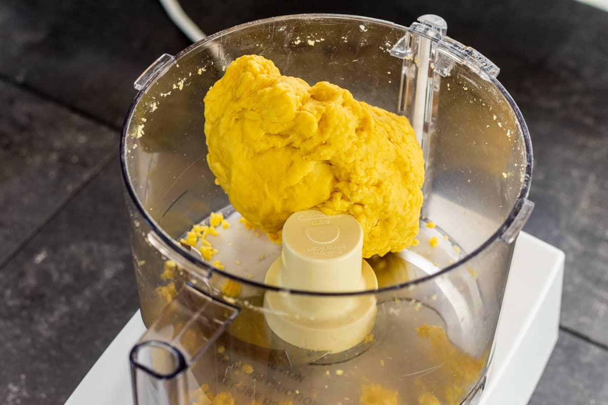 kneaded dough in food processor bowl