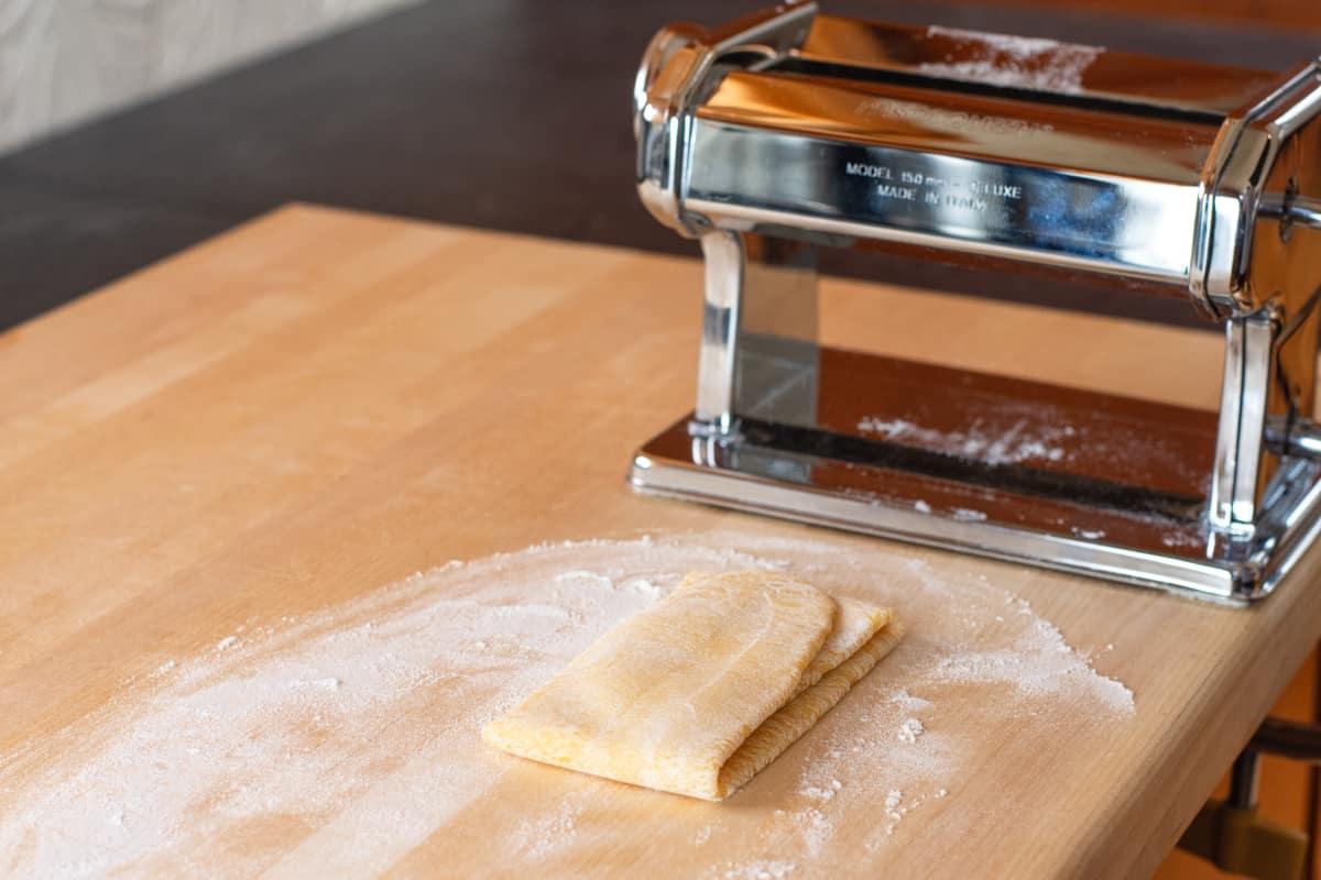 pasta dough folded into thirds