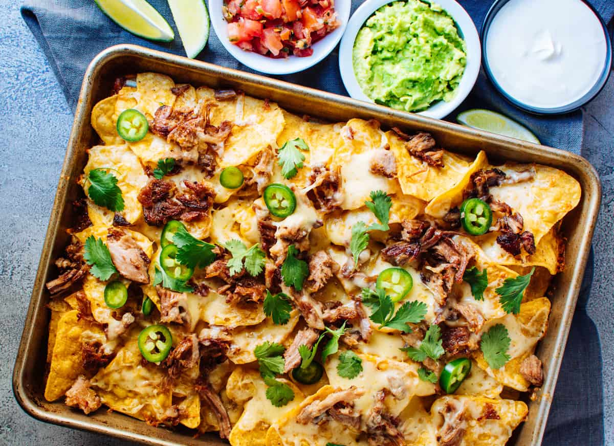 Pulled Pork Nachos in a baking sheet photographed from above
