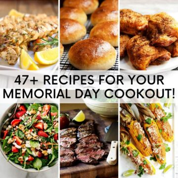 a grid of 6 food photos of memorial day cookout recipes