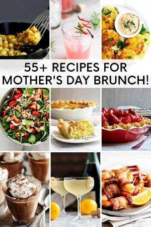 a grid of mothers day brunch food images