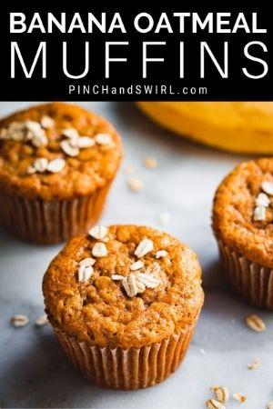 banana oatmeal muffins on a white marble board