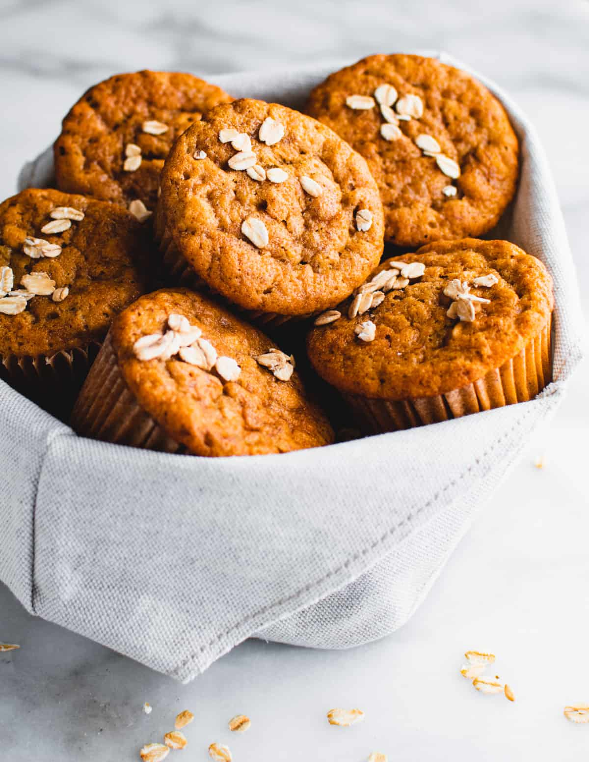 Banana Oatmeal Muffins in a cloth basket