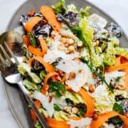 Butter Lettuce Salad served on a gray oval platter.