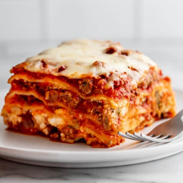Lasagna with Cottage Cheese served on a white plate