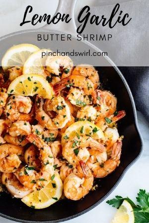 Lemon Garlic Butter Shrimp in a skillet