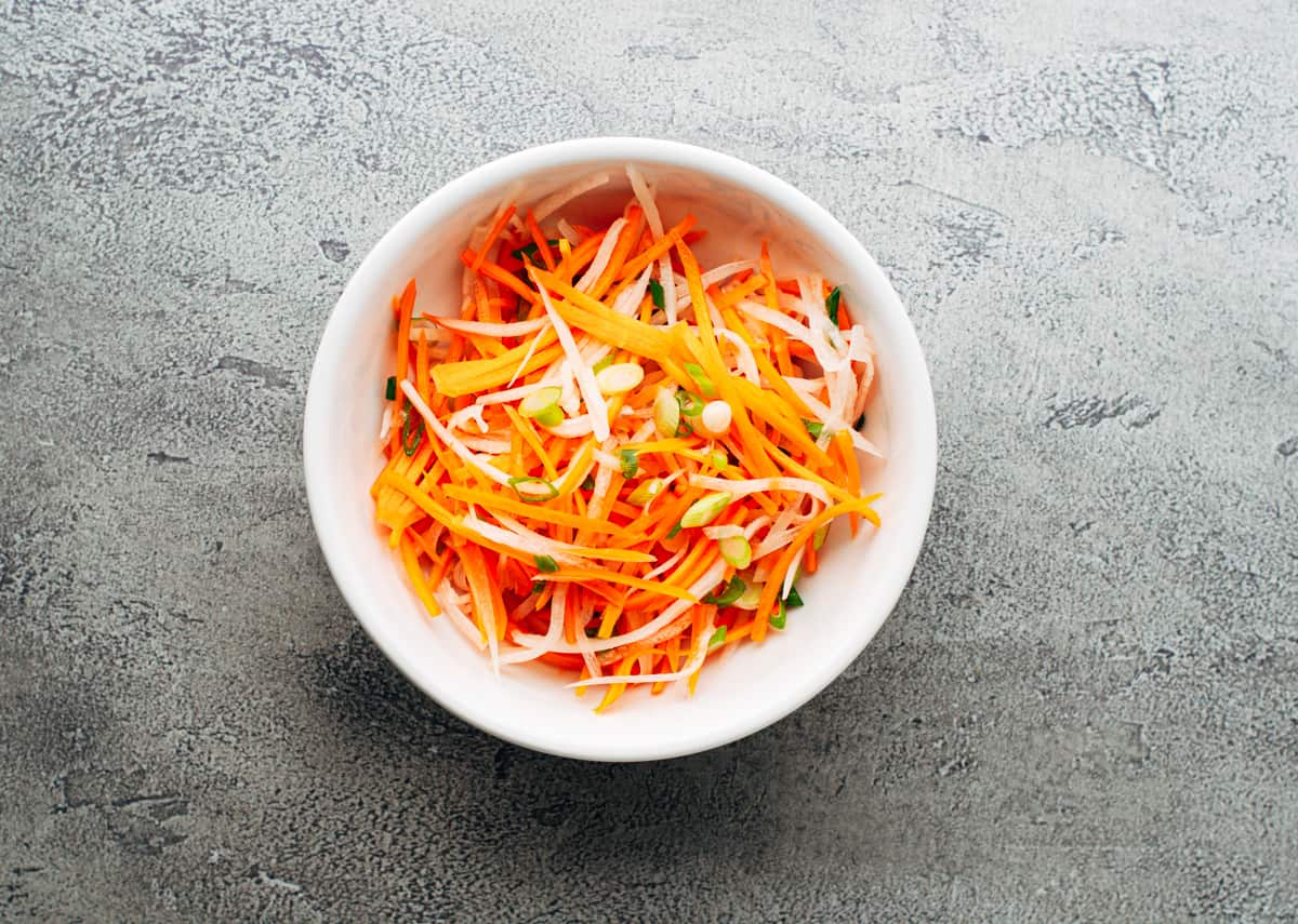 Quick Pickled Vegetables in a white bowl