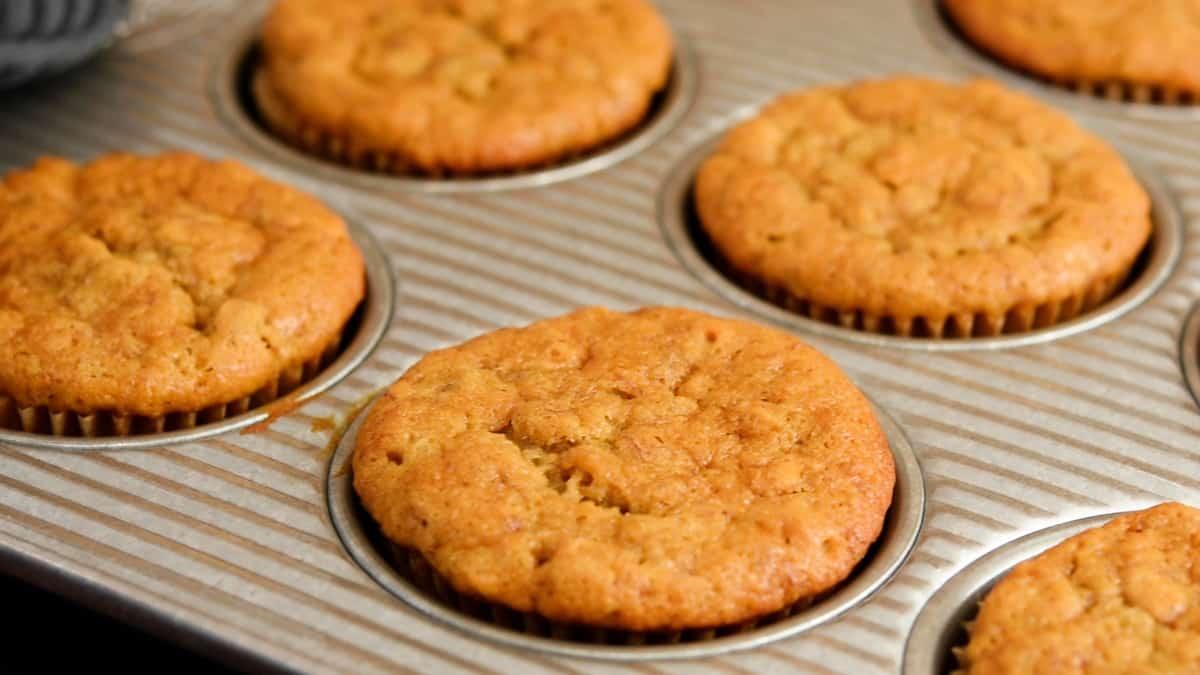 baked Banana Oatmeal Muffins in muffin tin