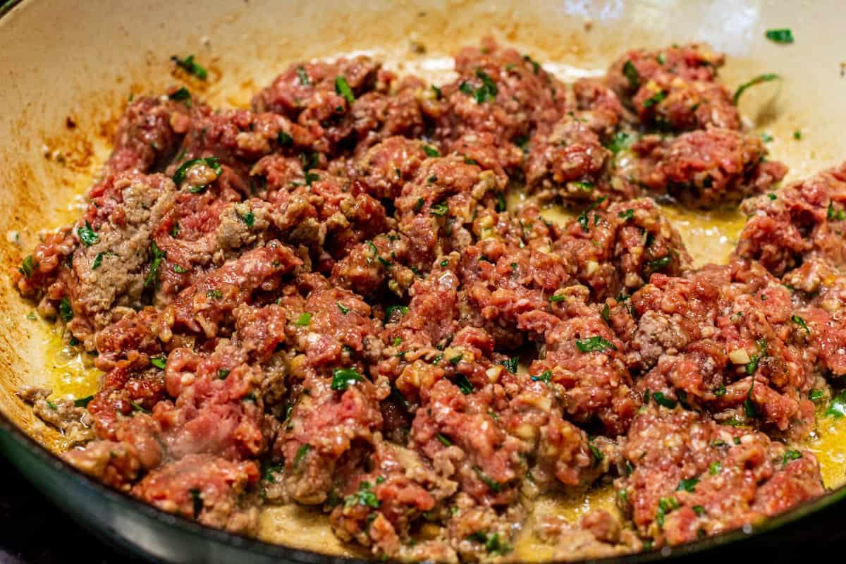 browning ground beef mixture