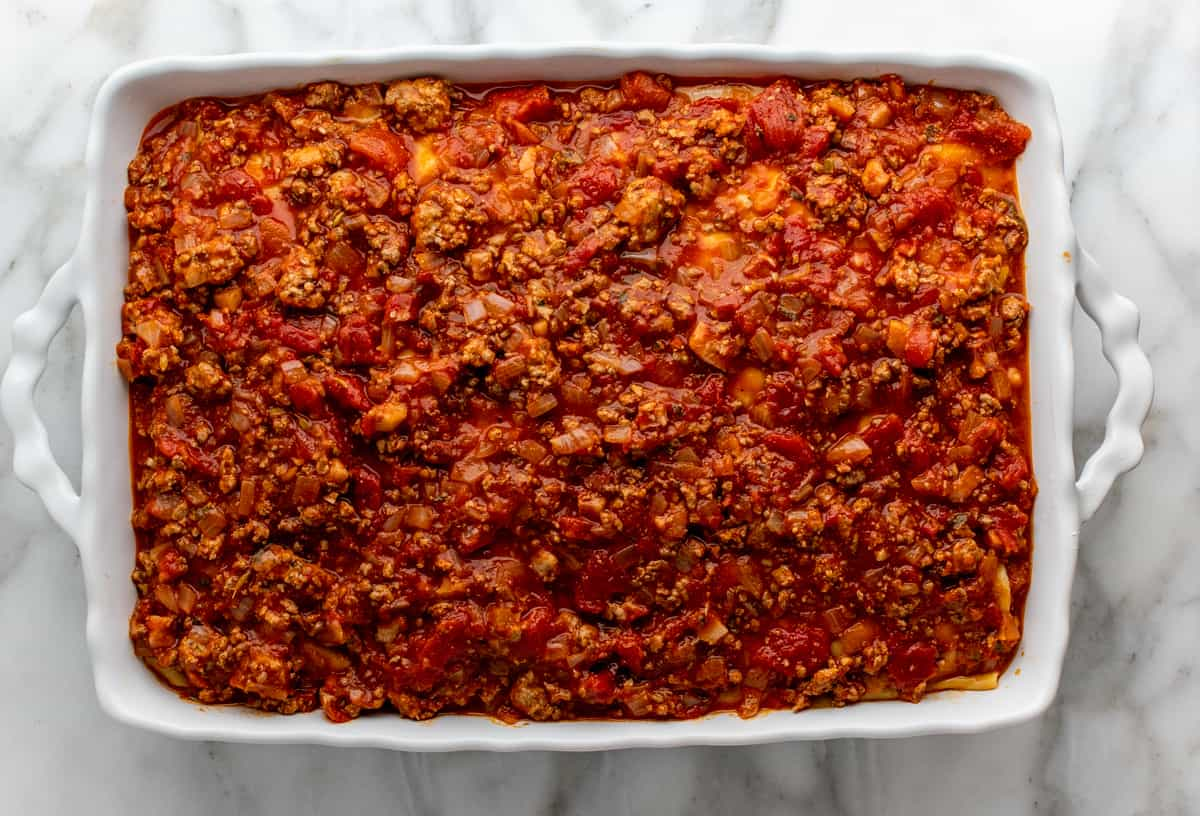 final meat sauce layer