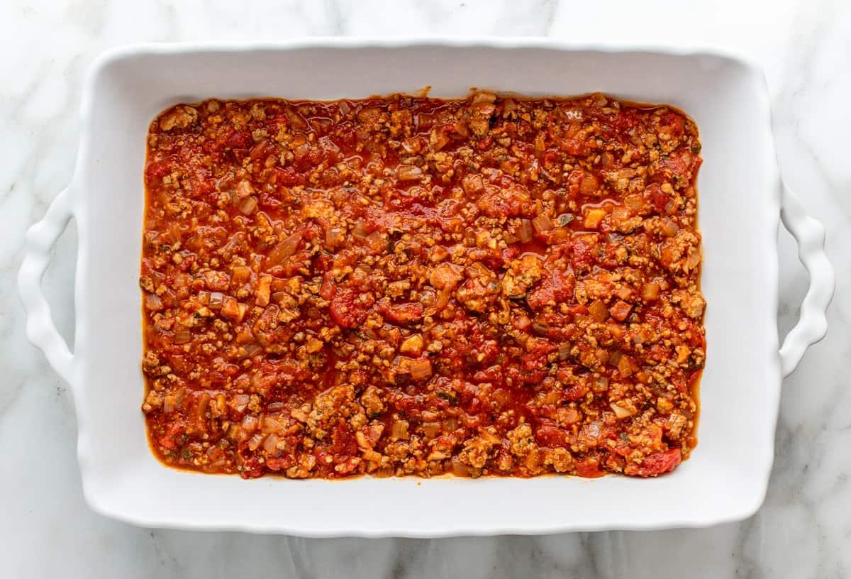 first lasagna layer meat sauce
